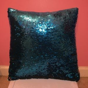 blue and silver sequins pillow